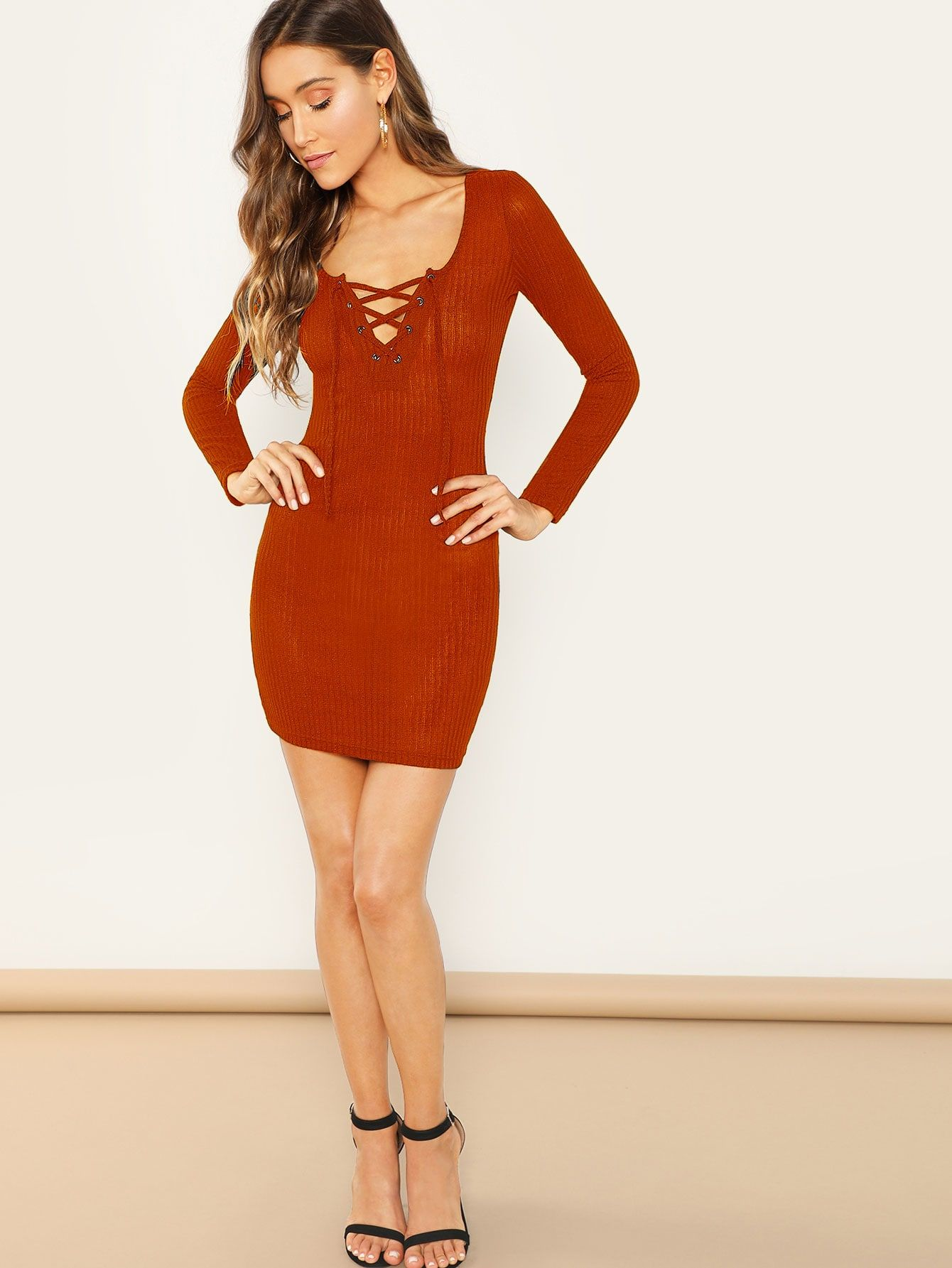 11d5a975d980 Glamorous and Sexy Tshirt Plain Bodycon Deep V Neck Long Sleeve Regular  Sleeve Natural Orange Short Length Lace Up Ribbed Knit Bodycon Dress