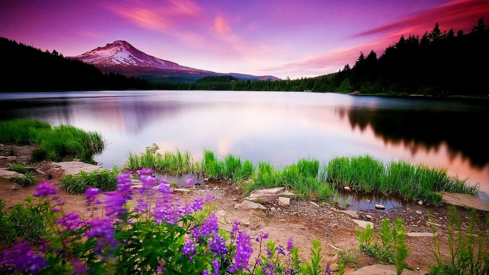 Colorful Lake Mountains Full HD Nature Wallpapers Free Downloads