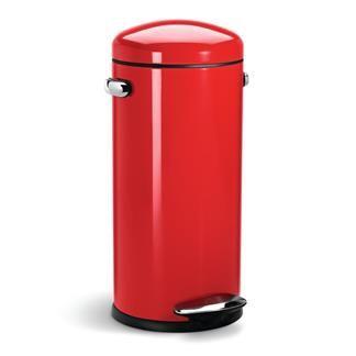 Lixeira de aço inox retrô Deluxe SimpleHuman vermelha 30 litros - 0034409.5