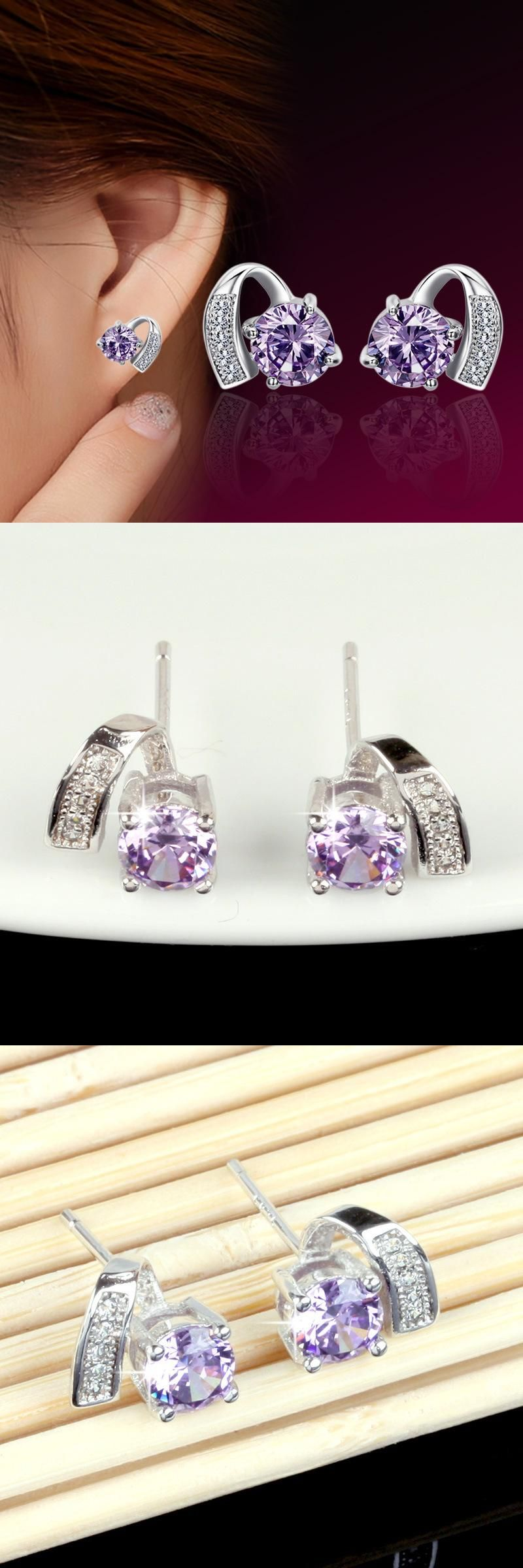 High quality silver plated jewelry heart shaped purple zircon silver