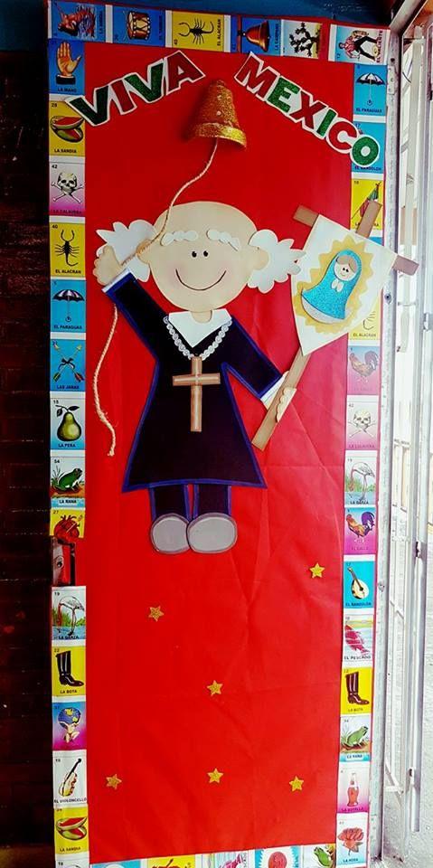 Puerta decorada del mes de septiembre miguel hidalgo for Puertas decoradas para el 16 de septiembre