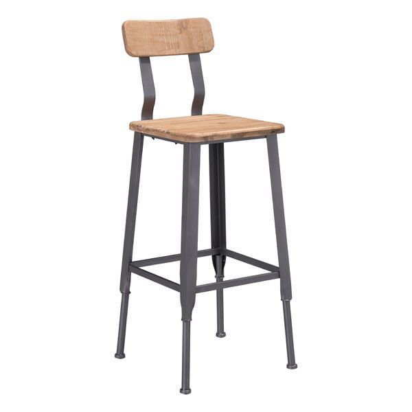 Zuo Clay Bar Chair Natural Pine & Industrial Gray 100421