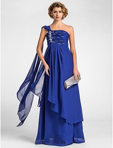 A-line One Shoulder Floor-length Chiffon Mother of the Bride Dress - USD $ 98.99