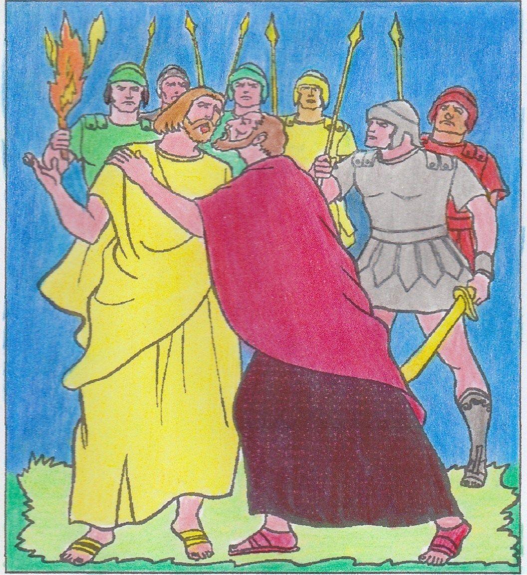 Judas Verraadt Jezus Knip De Afbeelding In Stukken En