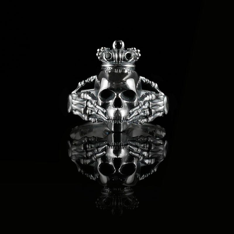 Skull And Black Diamond Claddagh Ring Bespoke Design By Brazen Studios