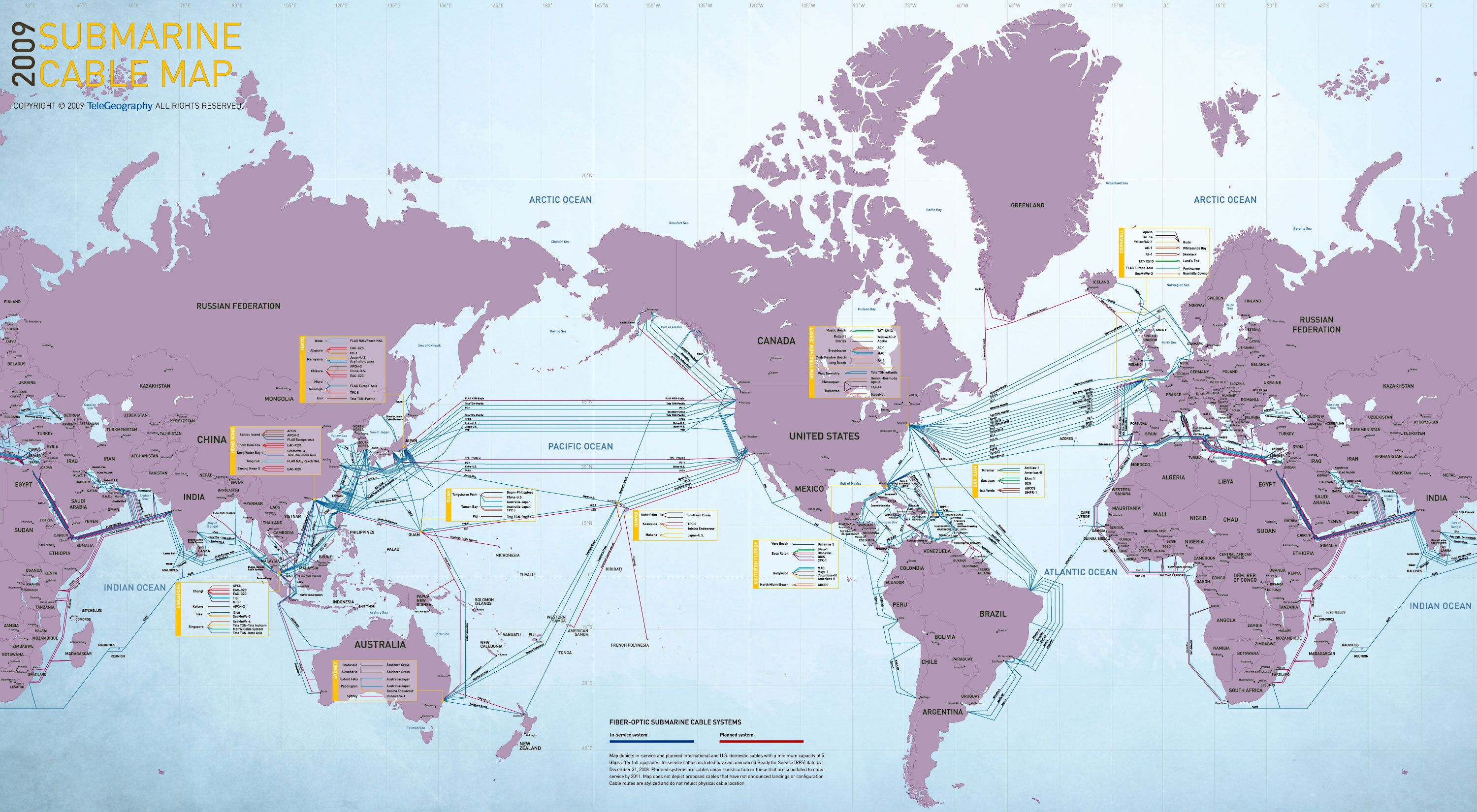 Fiber-optic submarine cable map | World map picture ...