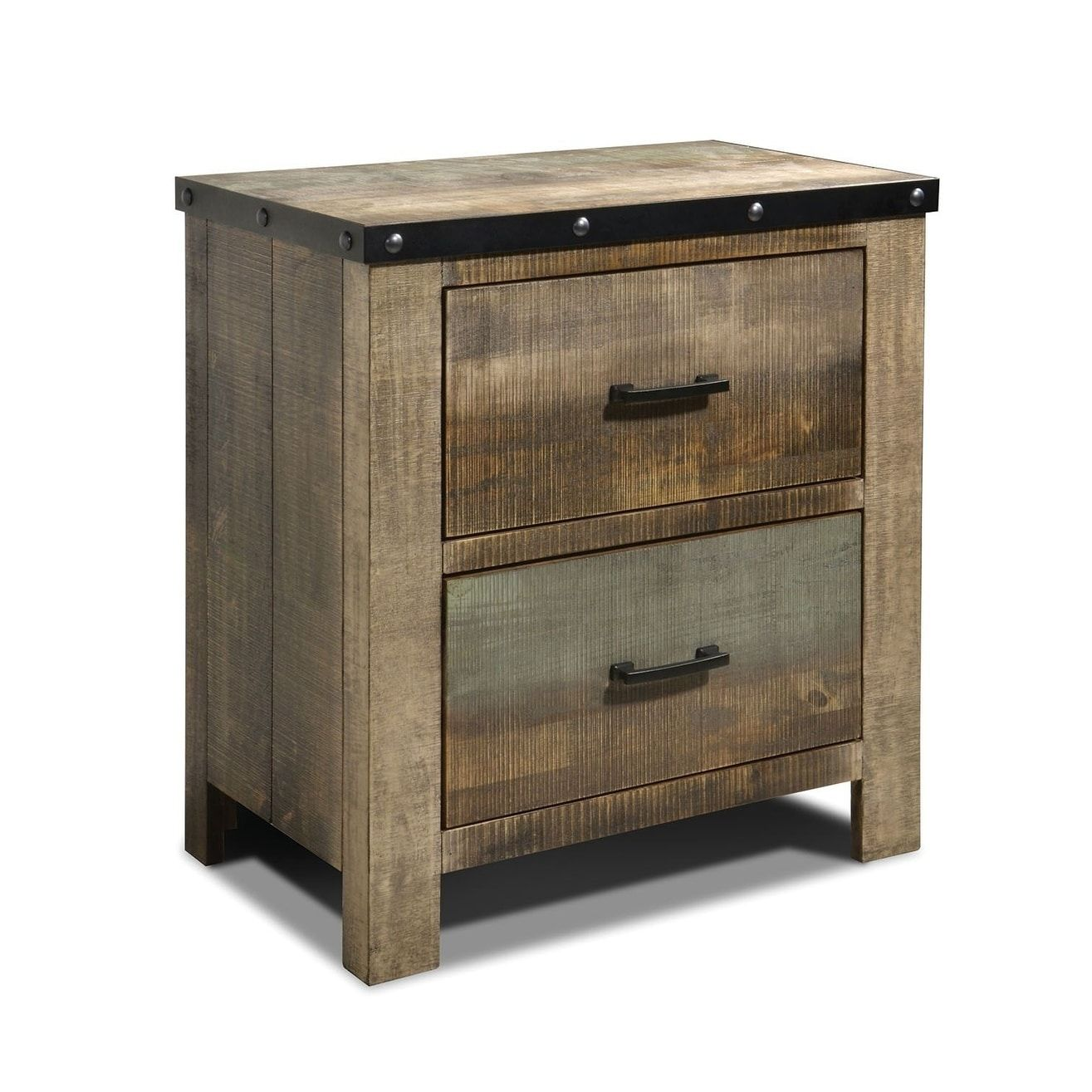 Wooden Nightstand with RoughSawn Design & Rivet Banding
