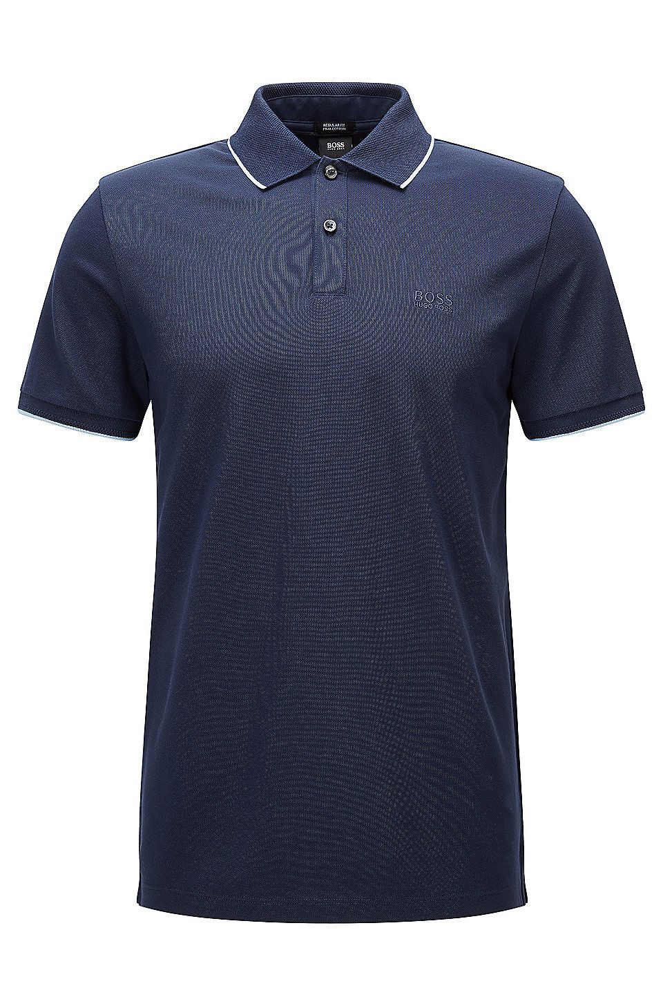 e6c0ee635f914 Regular-fit cotton polo shirt with contrast tipping Dark Blue from BOSS for  Men for £85.00 in the official HUGO BOSS Online Store free shipping