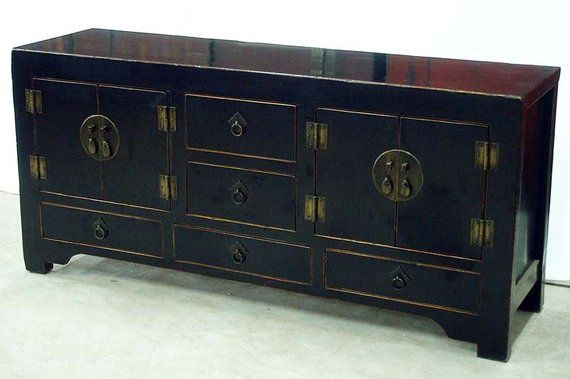 half off ffa36 c1d12 19th Century Chinese Antique Black low cabinet from Qing ...
