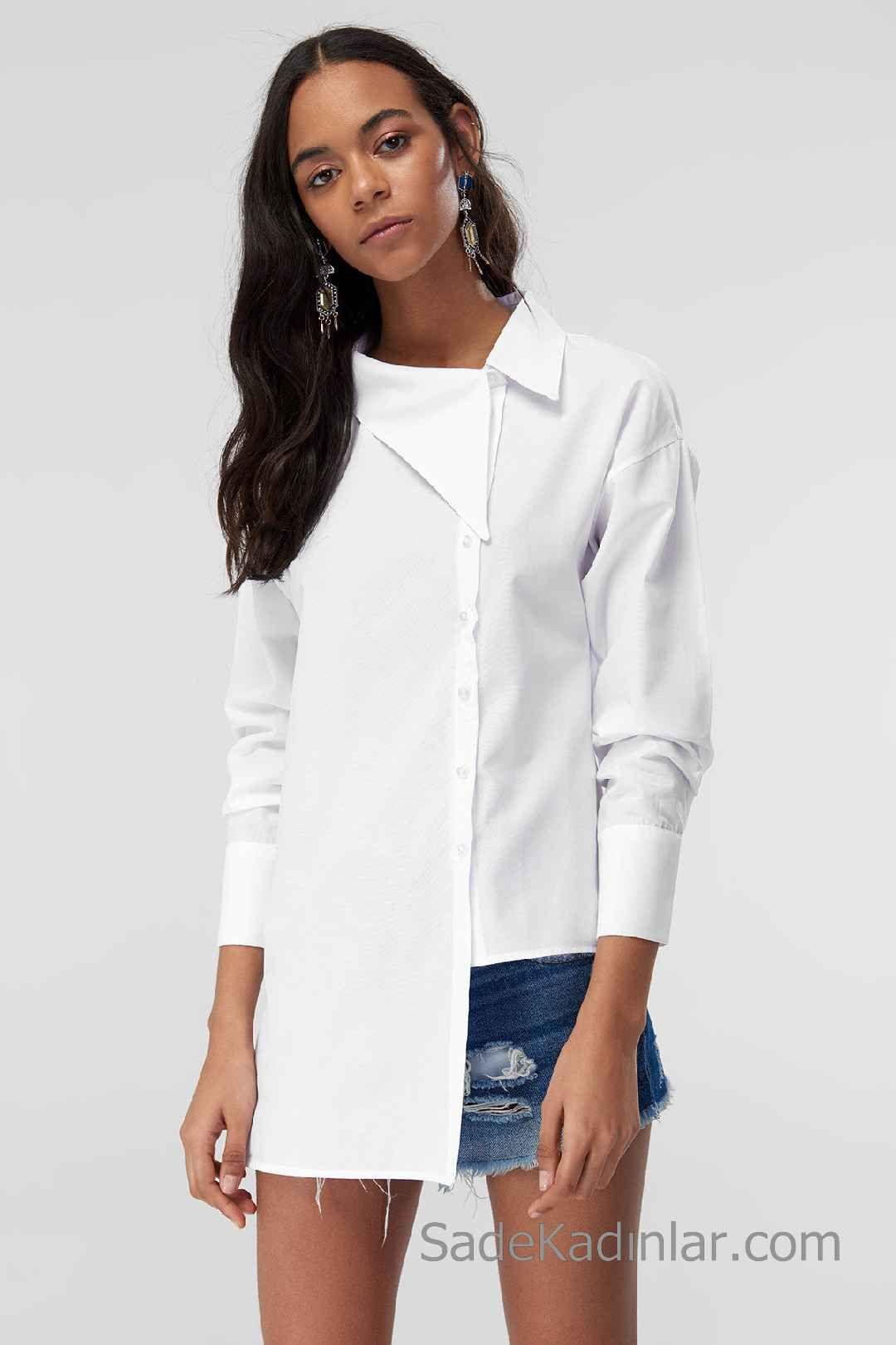 2020 Beyaz Gomlek Modelleri Uzun Kollu Asimetrik Yaka Onden Dugmeli Gomlek Moda Stilleri Gomlek Elbise