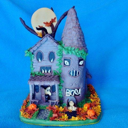 spooky glow in the dark miniature halloween haunted house sculpture - Miniature Halloween Decorations