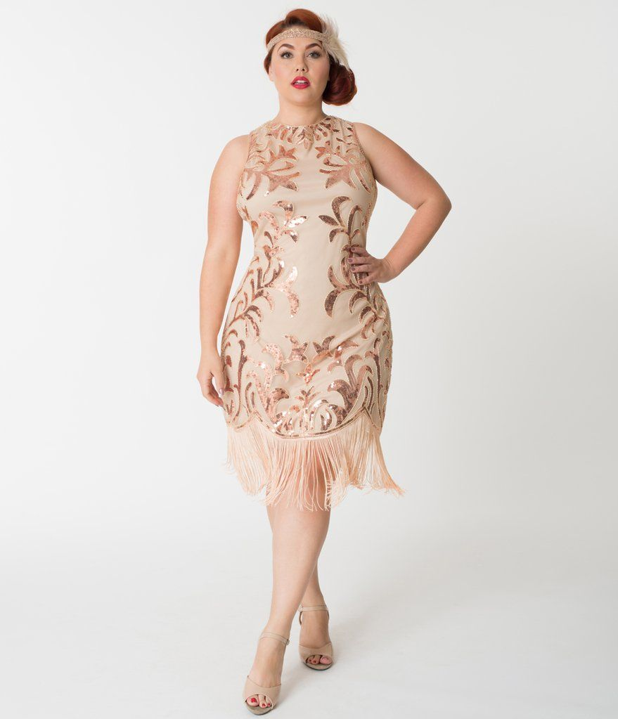 Plus size s rose gold sequin nikita flapper dress in
