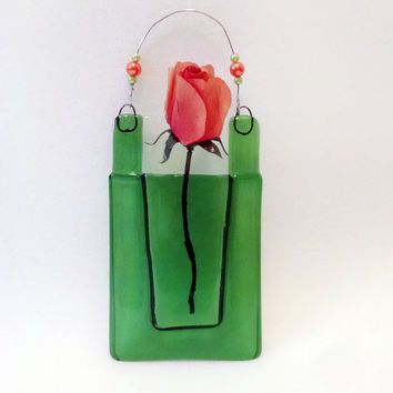 Fused Glass Wall Vase Pocket Vase Green Wall Hanging Home