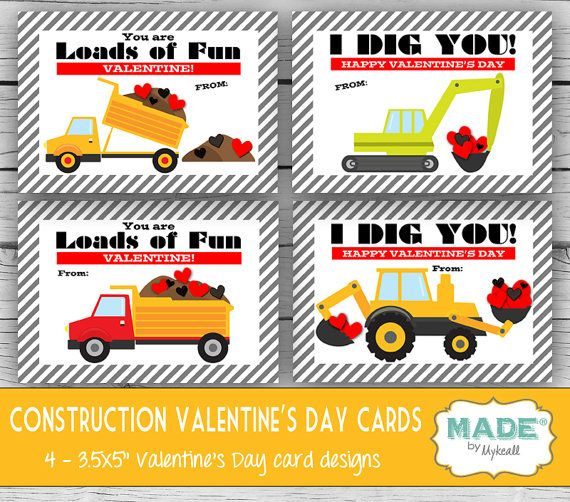 Printed CONSTRUCTION Valentine's Day Cards, Kids Valentines Day Cards - DIY Valentines - Kids Valentines, Printed