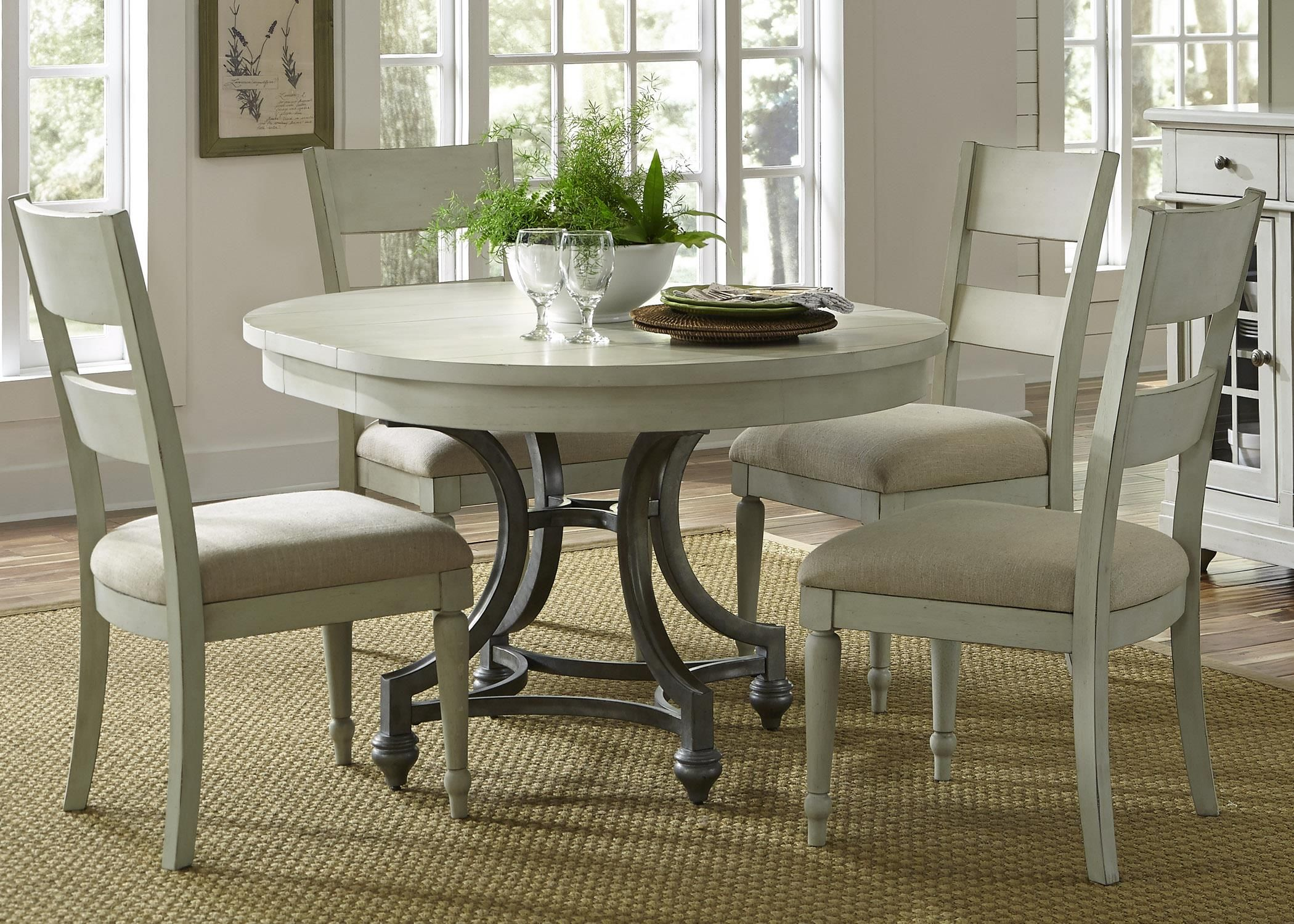 Harbor View Round Table with 9 Slat Back Chairs Set by Liberty ...