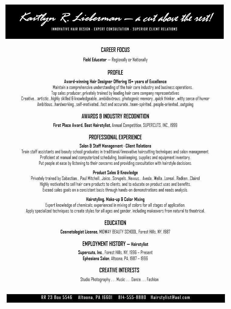 Hair stylist resume examples unique salon resume in 2020
