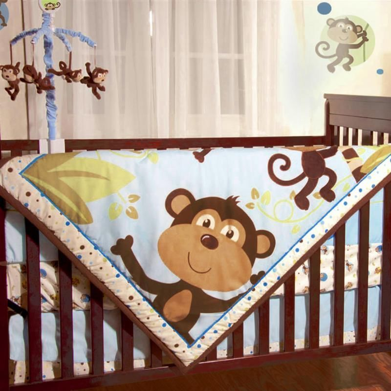 Jungle Safari Brown Monkeys Baby Boys 4pc Animal Themed Nursery Crib Bedding Set