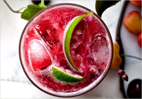 Cherry Caipirissima (simple syrup, cherries, white rum, lime). Photo: Andrew Scrivani for The New York Times
