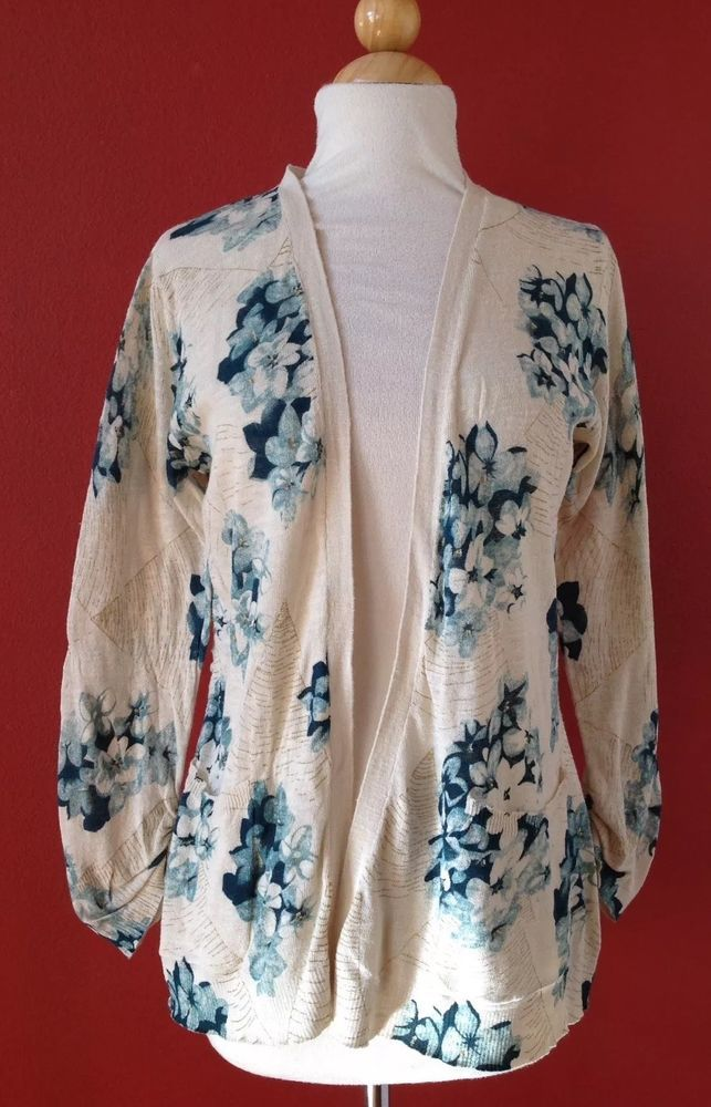 ANTHROPOLOGIE GUINEVERE Floral Gold Metallic Cardigan Sweater Size M #Guinevere #Cardigan
