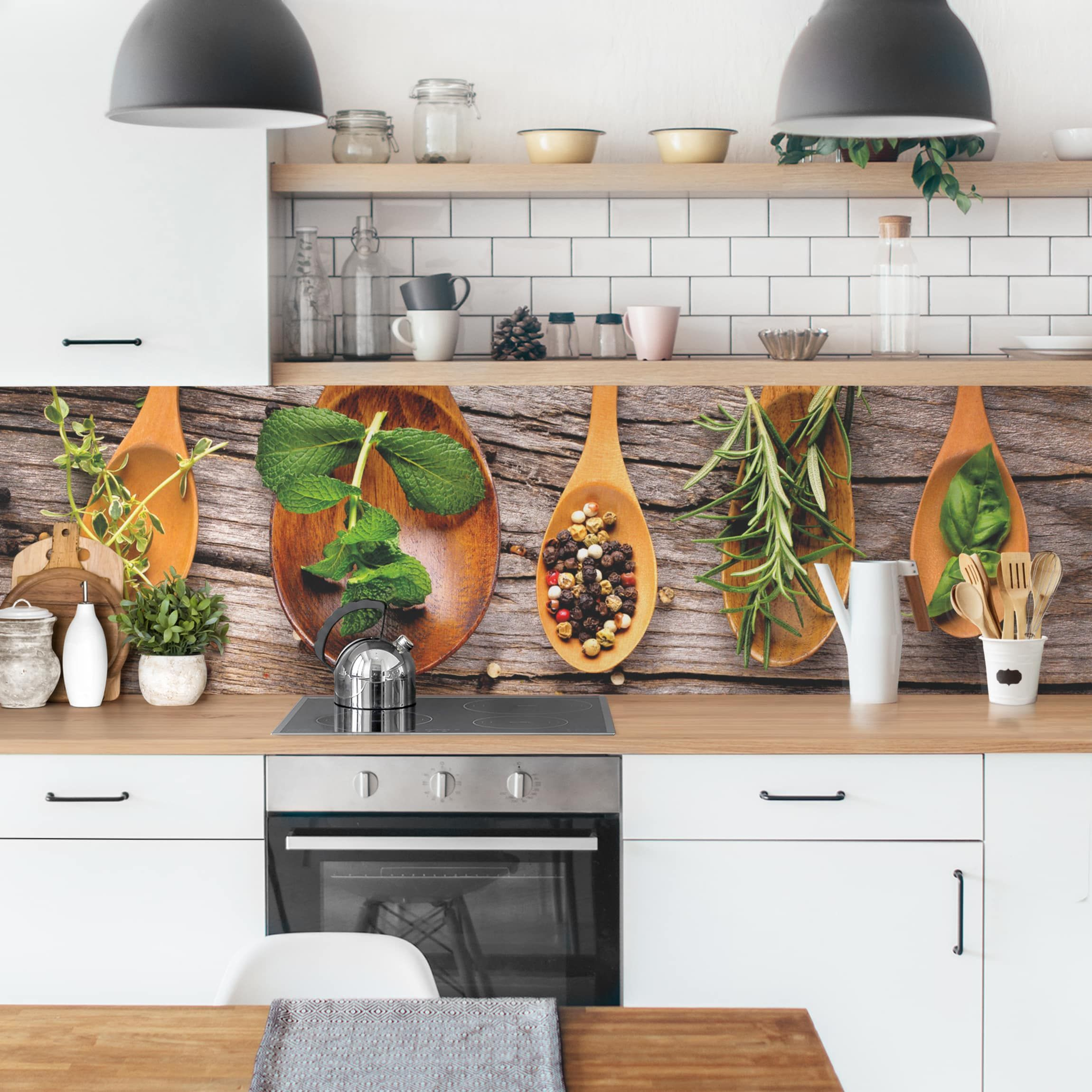 Küchenrückwand Kräuter Und Gewürze Küchenrückwandfolie Küchen Wandregal Küchenrückwand Küche Umbauen