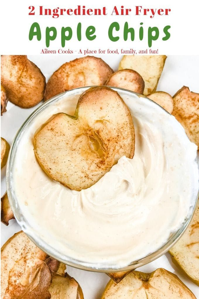 Air Fryer Apple Chips with Peanut Butter Dip Recipe in