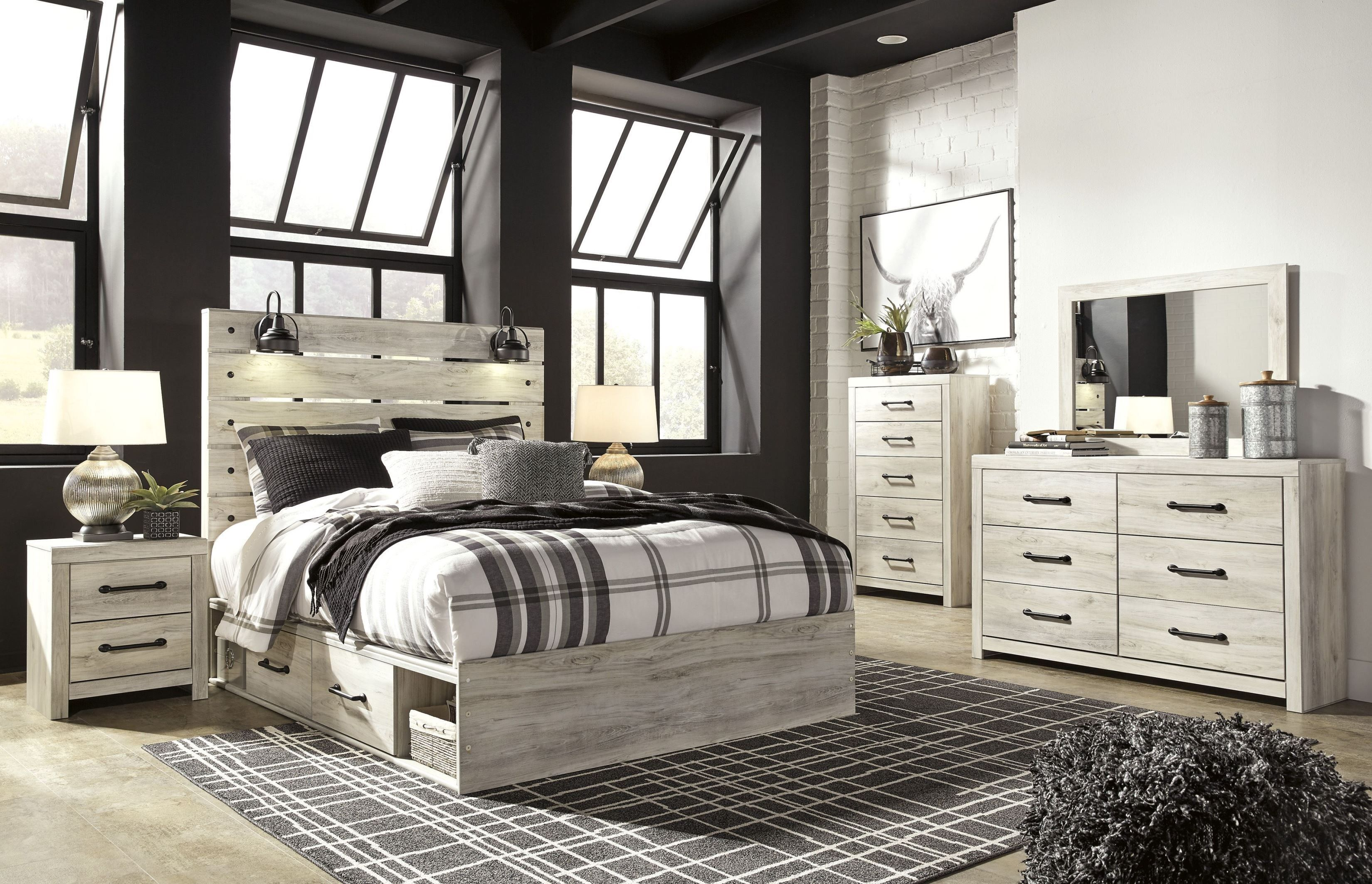 Cambeck Whitewash Panel Bedroom Set With Underbed Storage Bedroom Sets Queen Bedroom Set King Bedroom Sets