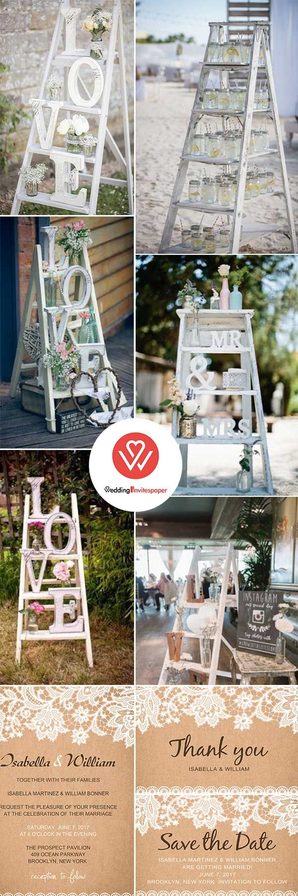 Yard wedding decoration ideas   CREATIVE SHABBY CHIC LADDER WEDDING DECORATION IDEAS  Wedding