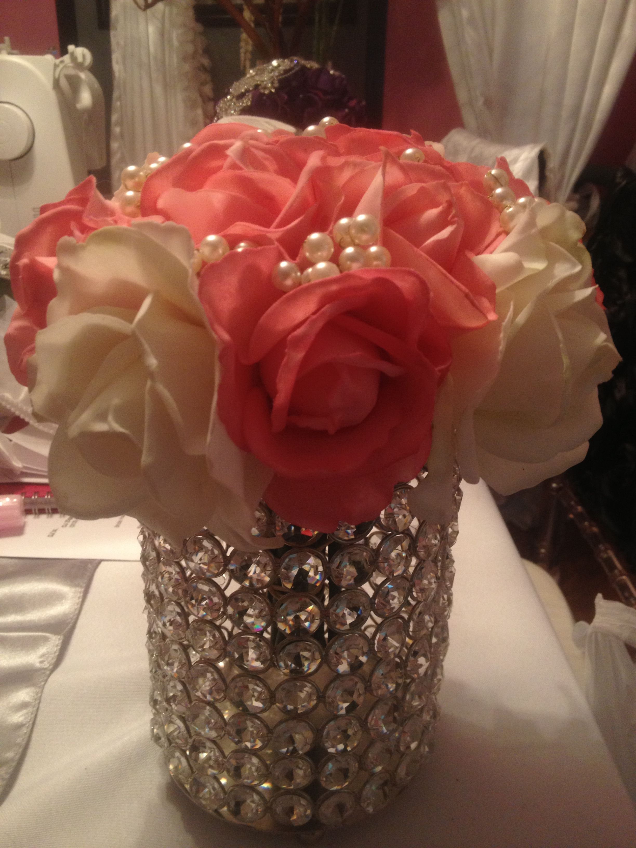 Floral Arrangement With Pearls By Marturo Events Wedding Alter