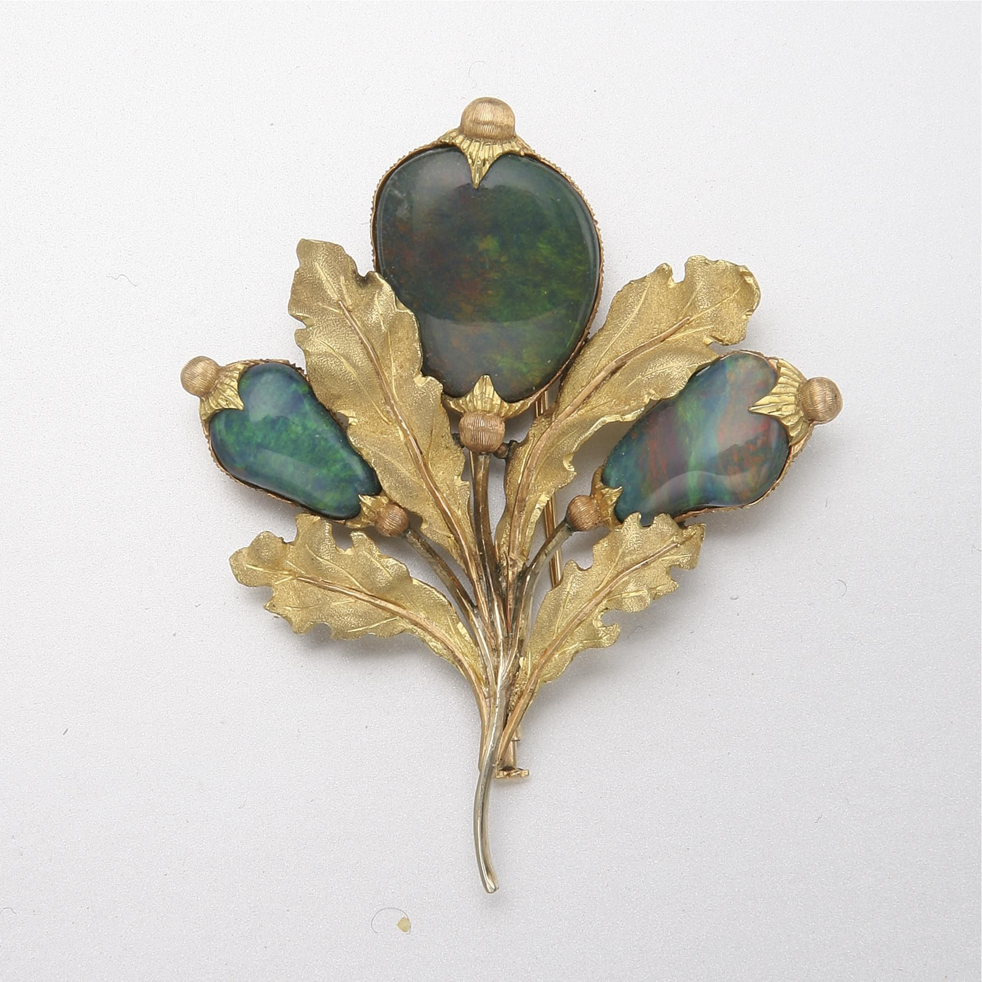THREE-COLOR GOLD AND OPAL DOUBLET BROOCH, BUCCELLATI
