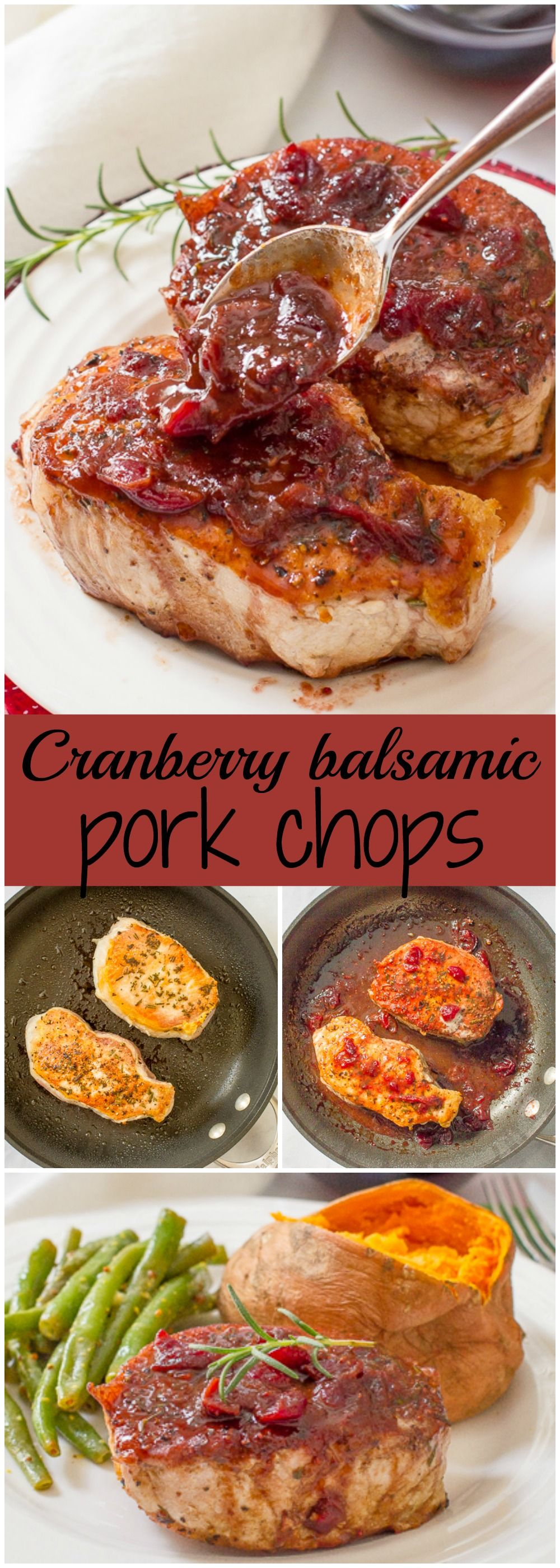 Cranberry balsamic pork chops are a quick and easy weeknight or date night dinner that has serious flavor with simple ingredients | www.familyfoodonthetable.com