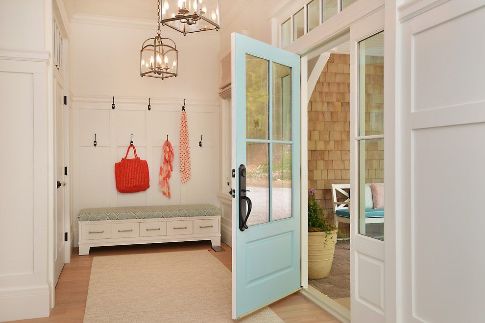 Front Door Bench Seat Entry Beach Style With Light Blue Door Wall