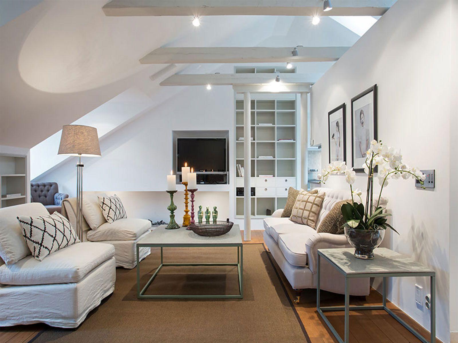 Decorating Attic Rooms interior: modern attic kitchen living room combo decorating ideas