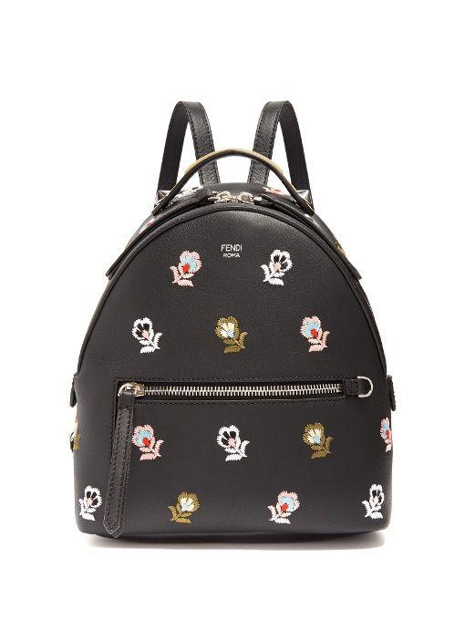 6e5e01569dba FENDI Floral-Embroidered Mini Leather Backpack.  fendi  bags  leather   lining  canvas  backpacks  metallic