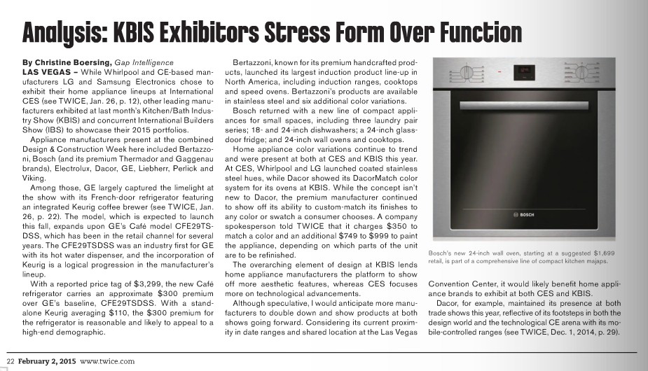 Gap Intelligence In Twice Analysis Kbis Exhibitors Stress Form