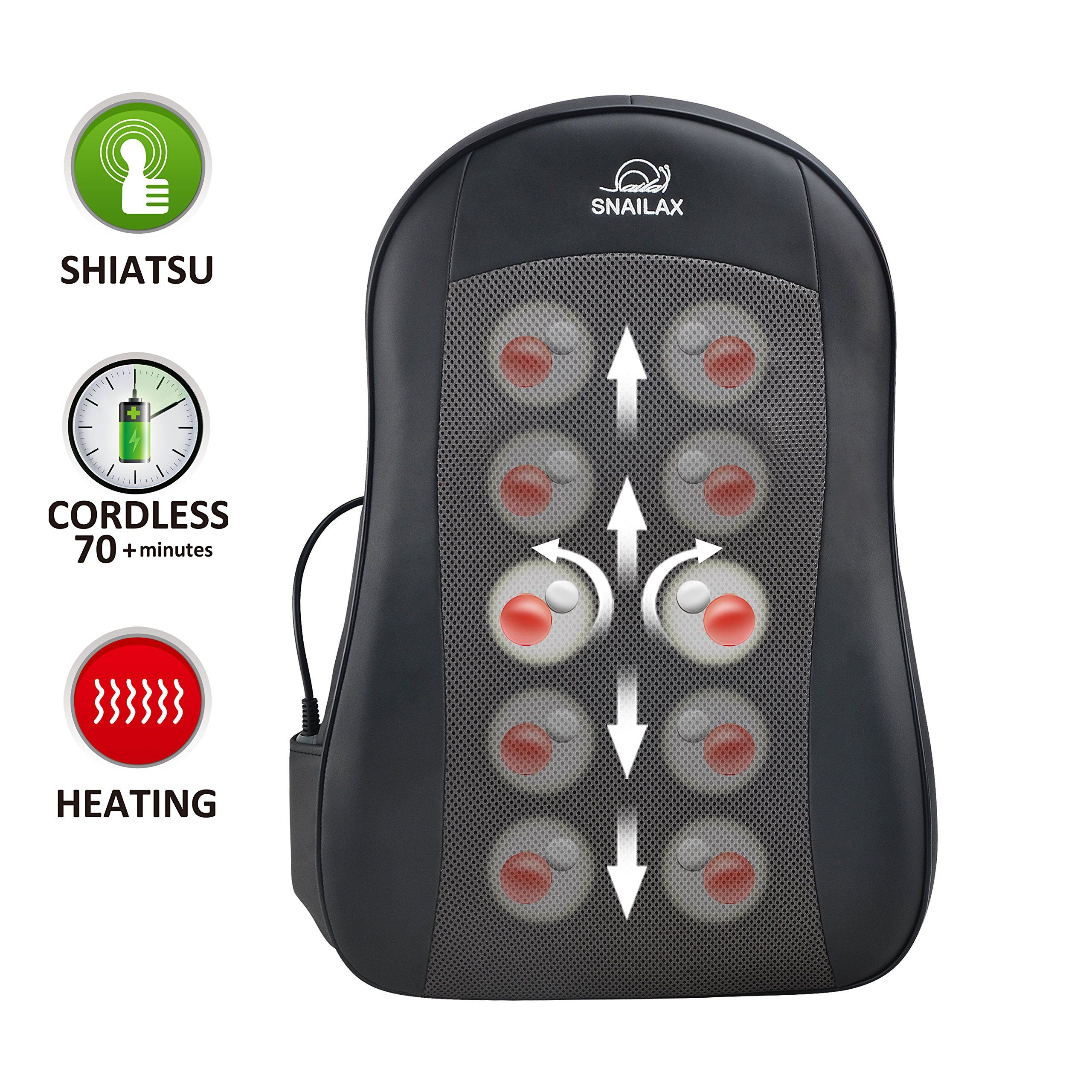 Snailax Cordless Shiatsu Back Massager with Heat Portable