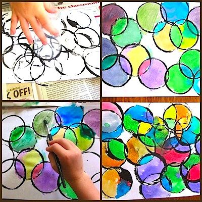 The Unlikely Homeschool circle prints and painting #dotdayartprojects