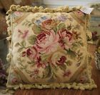 Photo of 2 Avail -100 Wool Roses Floral Gingham Check Handmade Needlepoint Pillow 18 X18 for sale online | eBay