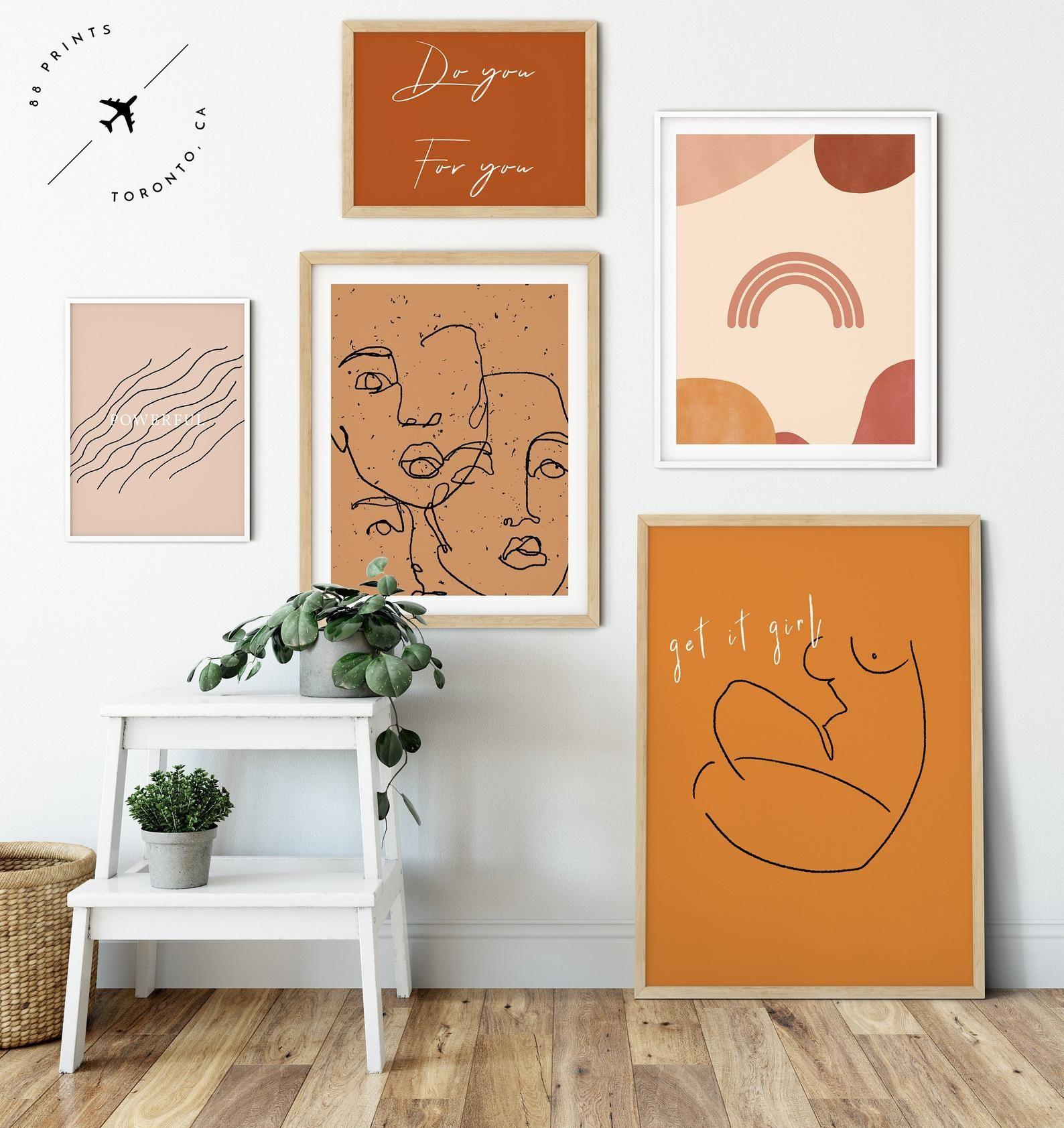 Burnt orange fine line art set of 5 prints abstract body