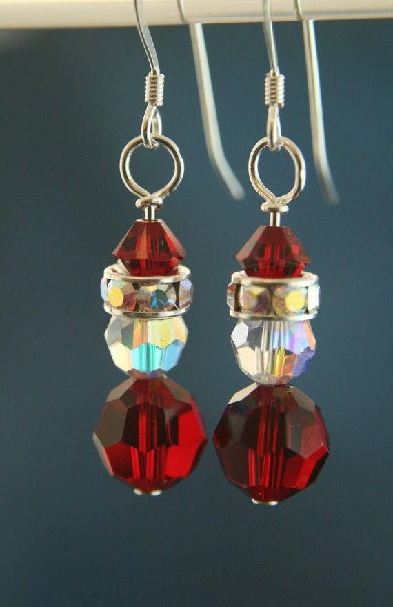 Christmas Crystal Earrings  Santa  Swarovski by HawkoonCreations, $13.00
