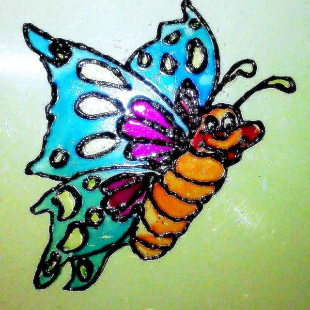 Butterfly Glass Paint On Ohp Sheet Glass Painting Painting Glass