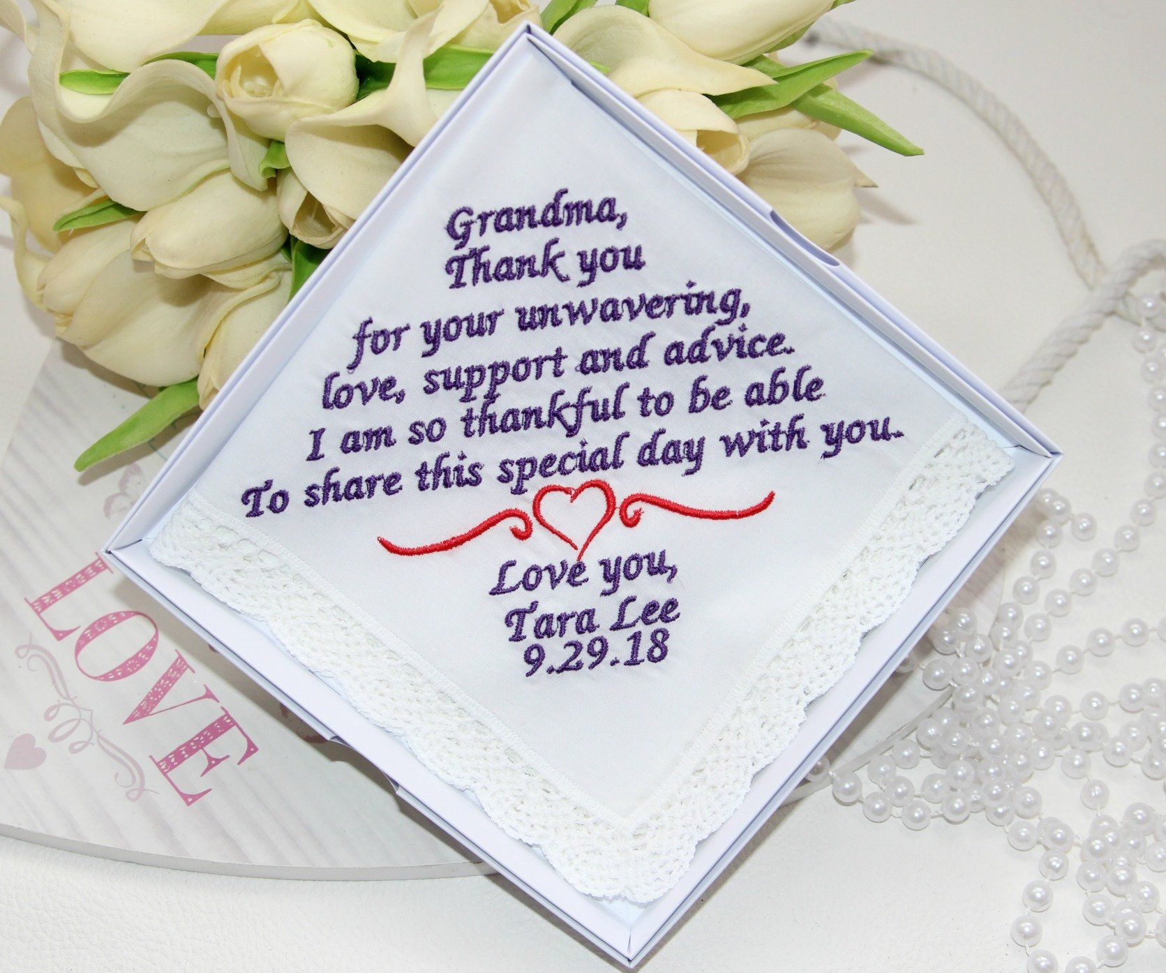 Embroidered Personalized Wedding Giftgrandmothermother Gift