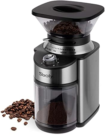 Conical Burr Coffee Grinder, Stainless Steel