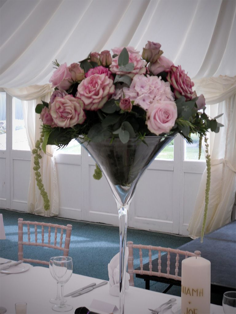 Wedding Table Centerpiece In A Martini Glass Vase