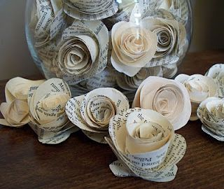 DIY Vintage paper flower tutorial...SO easy to make and love the ideas of putting them in apothecary jars!