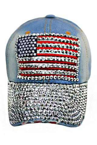 5d6b239ed24 AMERICAN FLAG HAT WITH EMBROIDERED BLING STUDS-Denim