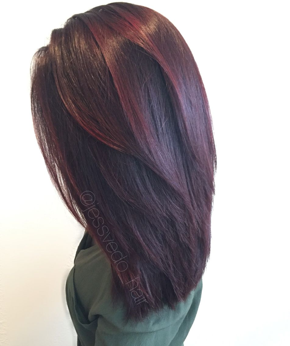 Red Violet Hair Color With Red Balayage Highlights On Short Hair