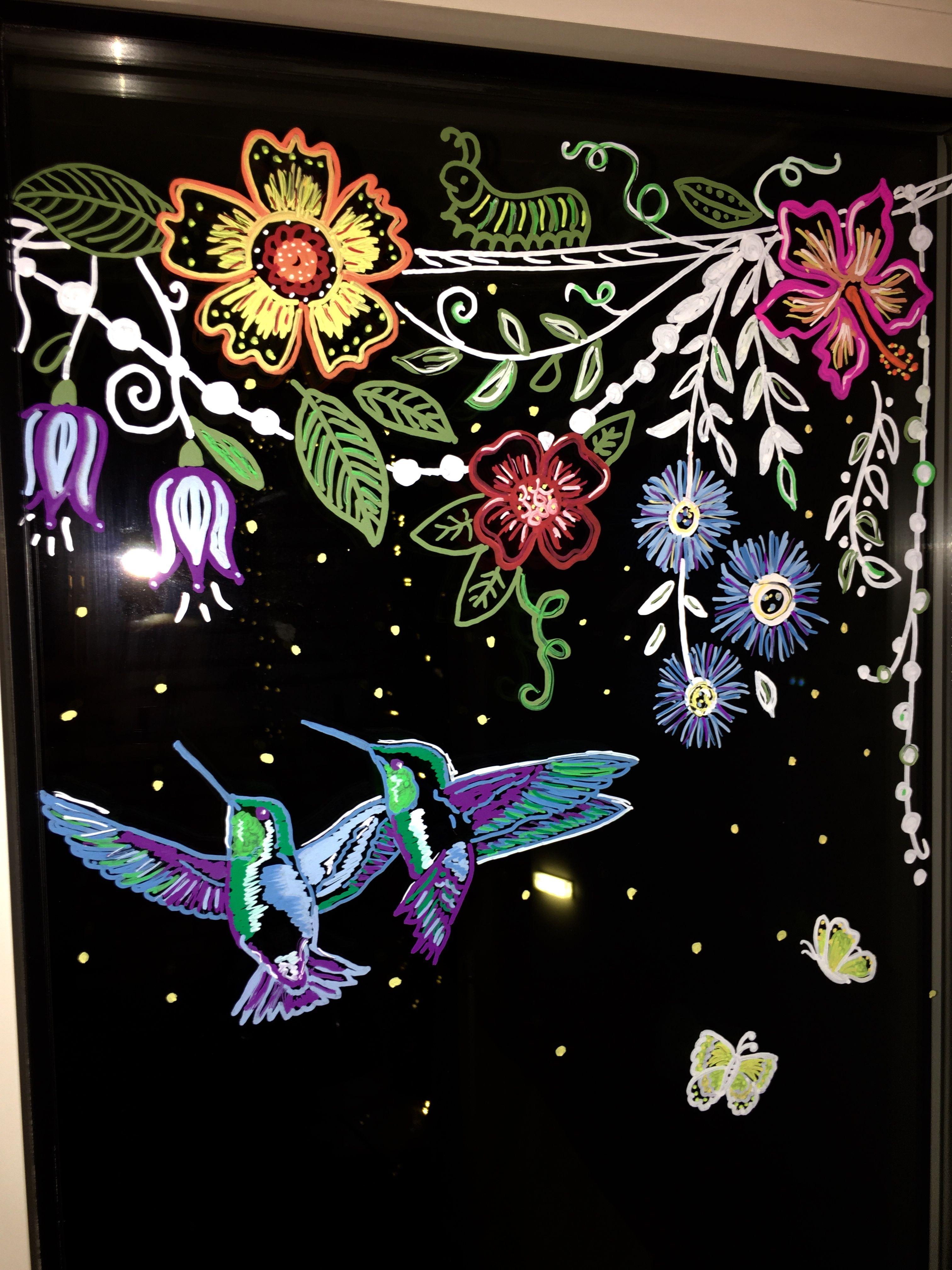 Fensterbild mit Kreidestift von Bine Brändle Frühling