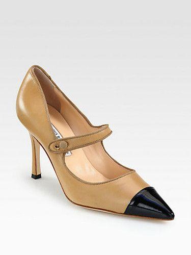 ea417c76a7eb Manolo Blahnik Campari Leather Patent Mary Jane Pumps Heels black tan cap  toe