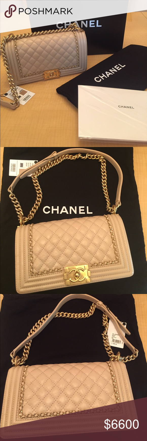 4a684d3c63b5 Brand New Chanel Boy Bag Beige with Gold Hardware 100% Authentic!!! Sold ‼