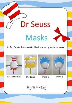 4 Dr Seuss face masks that are so easy to make. Cat in the Hat the Lorax Thing 1 and Thing 2. Colour or black and white version.Simply add paper plates.  sc 1 st  Pinterest & 4 Dr Seuss face masks that are so easy to make. Cat in the Hat the ...